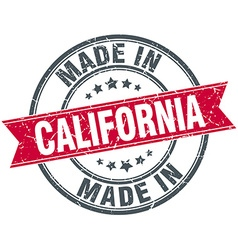 made in California red round vintage stamp vector image