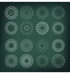 Set of flower shapes 16 elements for your design vector