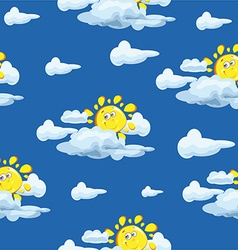 Wallpaper pattern with sun and clouds vector