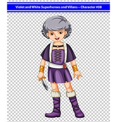 A female violet and white superhero vector