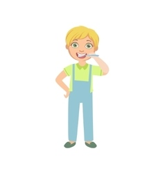 Boy brushing teeth standing and smiling vector