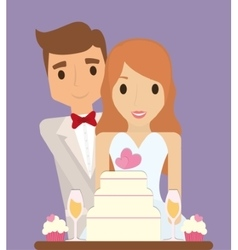 Bride groom cartoon and save the date design vector