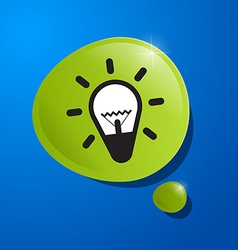 Bulb Icon in Green Bubble on Blue Background vector image