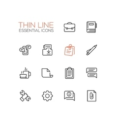 Business Office - Thin Single Line Icons Set vector image vector image