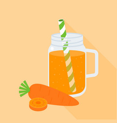 carrot juice in mason jar with carrot vector image