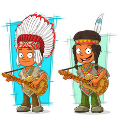 Cartoon indian chief and boy character set vector
