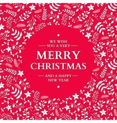 Christmas doodle wreath with greeting vector image vector image