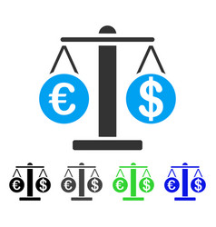 Euro and dollar scales flat icon vector
