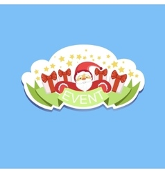 Event template label cute sticker with santa claus vector