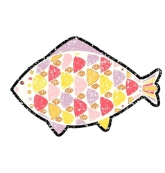 grunge fish icon on background vector image