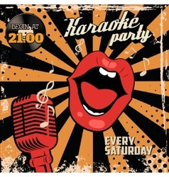 Karaoke party Human lips with old style vector image