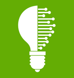 Lightbulb with microcircuit icon green vector