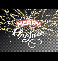 merry christmas shining gold glitter snowfall vector image vector image