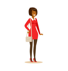 Smiling african american girl in casual clothes vector
