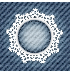 Snowflake lace jeans vector image vector image