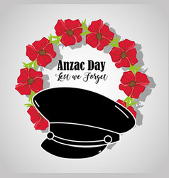 Soldier hat to anzac day memorial vector