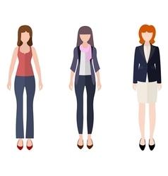 Three women flat style icon people figures vector