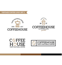 unique coffee and tea logotype design template vector image vector image