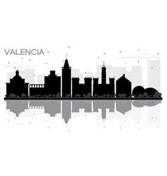 Valencia spain city skyline black and white vector