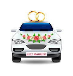 Wedding car just married isolated on white vector
