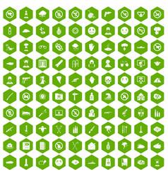 100 tension icons hexagon green vector