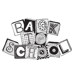Hand drawn phrase back to school in doodle fancy vector
