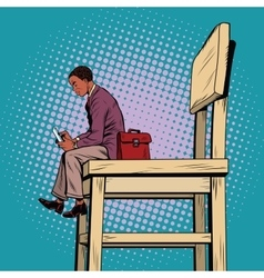 Small business man on the big chair and vector