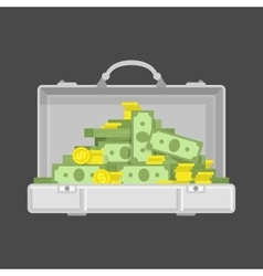 Chrome suitcase with money vector