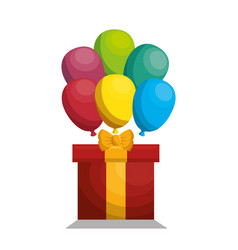 Giftbox with balloons party vector