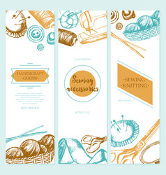 Sewing accessories - color drawn template banner vector