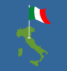 Italy map and flag italian banner and land area vector