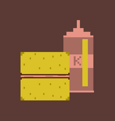 Pixel icon in flat style burger and ketchup vector