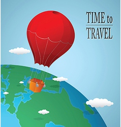 Hot air balloon over earth vector