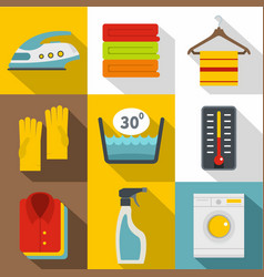 housework icons set flat style vector image