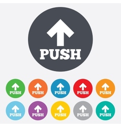 Push sign icon press arrow symbol vector