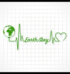 Creative happy earth day greeting with heartbeat vector