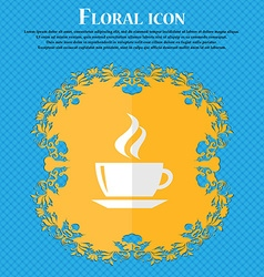Tea coffee floral flat design on a blue abstract vector