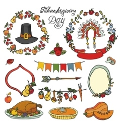Thanksgiving daydoodle setcolorful collection vector