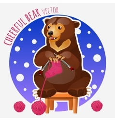 Cute bear knit pink sock sitting on a stool vector