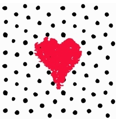Valentine hand drawn card polka dots vector