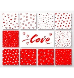 Set of red and white patterns with hearts for vector