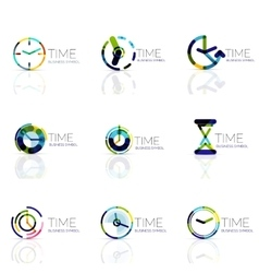 Linear time abstract logo set connected vector