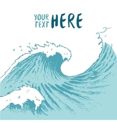 Drawn blue waves background summer sea place text vector image