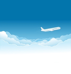 Airplane flying high in the sky vector