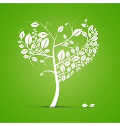 Abstract Heart Shaped Tree on Green Background vector image