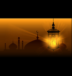 Arabian nights ramadan kareem islamic background vector