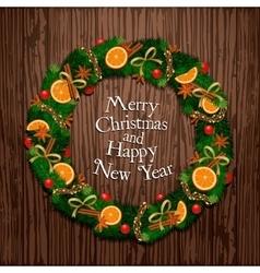 Aromatic decorated christmas wreath on wooden door vector