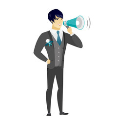 Asian groom talking into loudspeaker vector