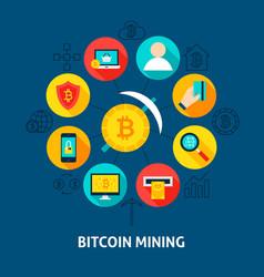 Bitcoin mining concept vector