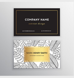 business cards gold design tropical leaf vector image